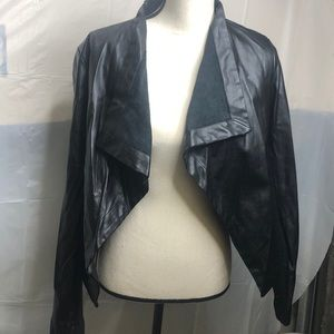 Leather moto blazer jacket